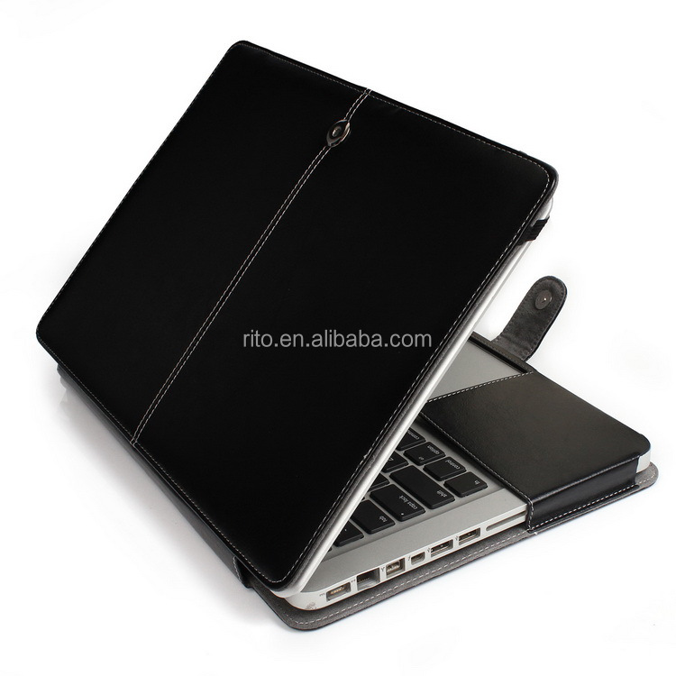 Black Leather Computer Sleeve for MacBook Pro 13 inch, PU Leather Protective Shell for MacBook