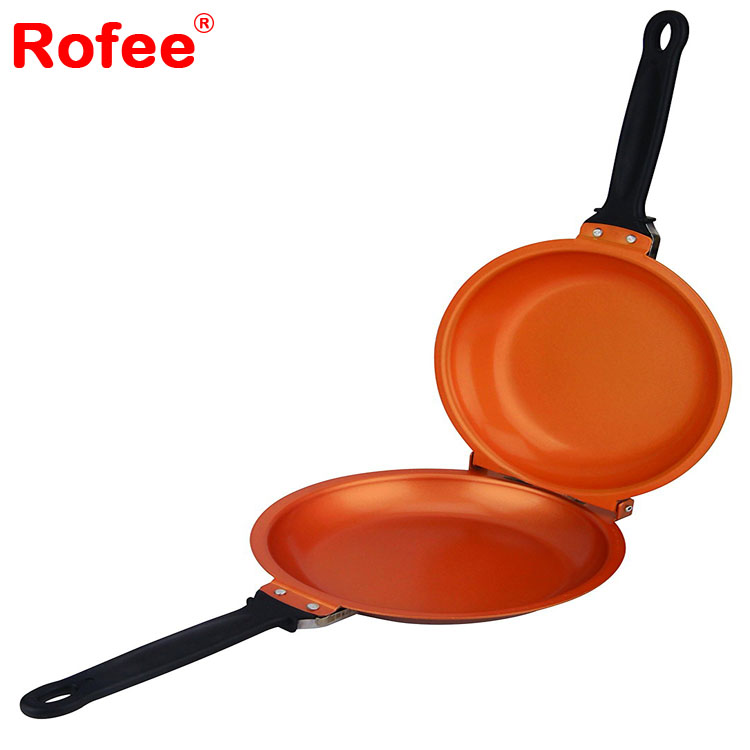 Aluminum ceramic non stick round double sided copper fry pan