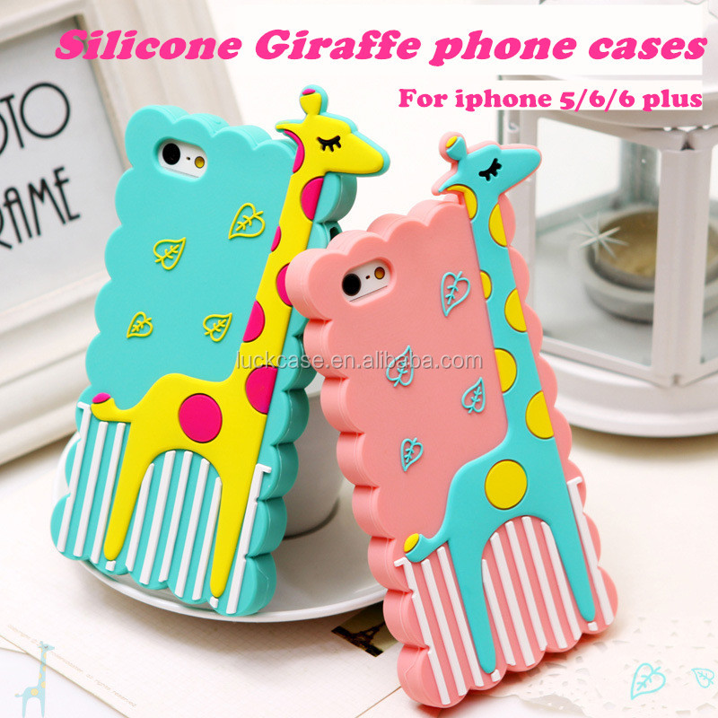 Imports from China New premium Giraffe silicone mobile phone cases for ihpone 5/6/6plus,innovation accessories for iphone