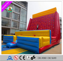 2017 Extraoridinary PVC inflatable rock climbing wall with strong ropes for kids/adults for sale