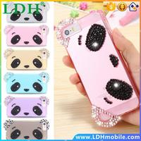 For Apple iPhone 5 5S 3D Cute Bear Transparent Glitter Diamond Lovely Cubs Case For iPhone5 5S Clear Ultra Soft Gel Cover +Strap