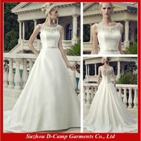 WD-2297 Stunning beaded illusion bateau neckline wedding dresses buttons down the back satin slip wedding dress