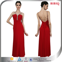 Red Spaghetti Strap Sequined Backless Evening Banquet Dress Pattern