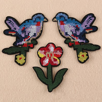 Flower Bird Patches For Clothing parches Jacket Patch Cross stitch Embroidered Appliqued Jeans Fabric Patchwork Shirt Badge