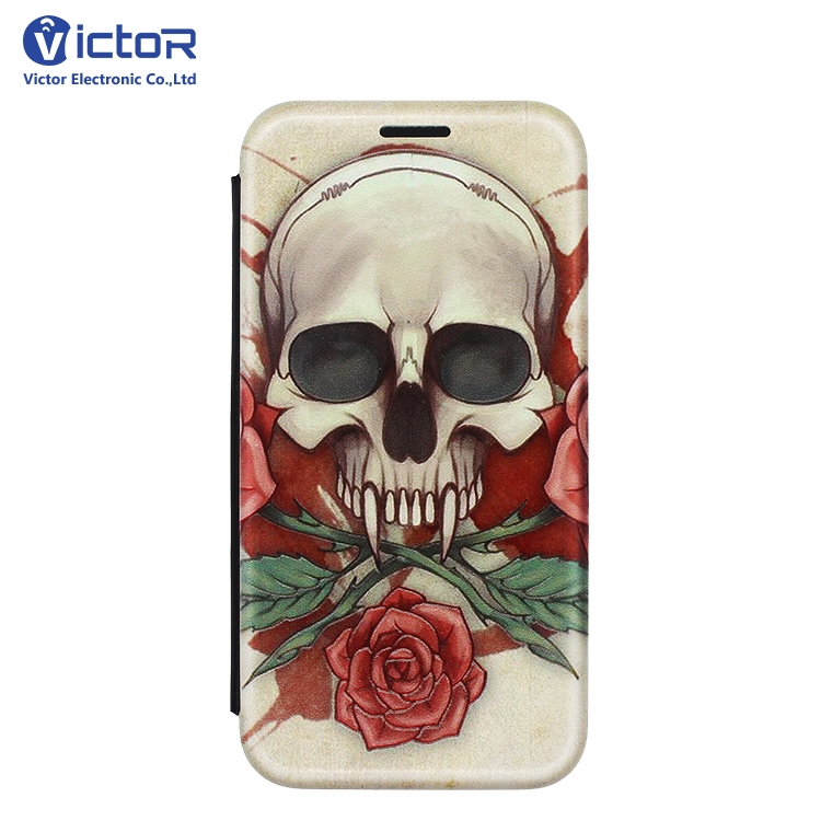 Latest OEM Printed Magnet Wallet Mobile Flip Leather Case , Custom Embossed Shell Leather Phone Case For iPhone X