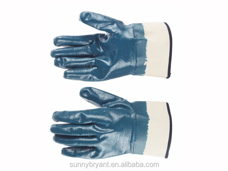 Blue Safety Cuffs Smooth Palm Heavy Duty Premium Nitrile Rubber Fully Coated Gloves