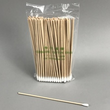 Industrial 100% Natural Cotton Single Tip 6inch Wooden Stick Cleansing Swab