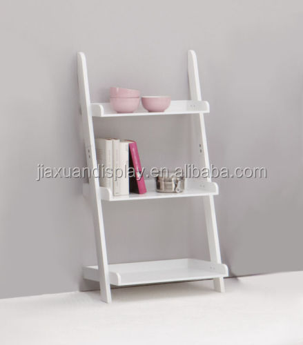 3-tier wood book shelf book magazine rack ben display shelving ladder shelf