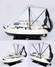 SHRIMP BOAT WITH NETS WOODEN FISHING BOAT - CRAFT BOAT MODEL