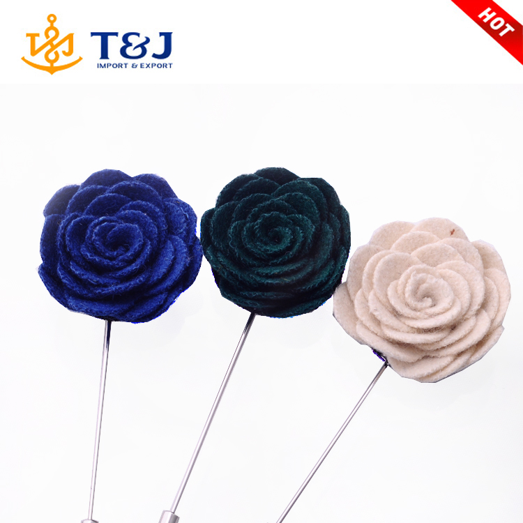 2016 Hot sale classical flower brooch fabric handmade lapel pins suit , party long pin wedding rose brooches for men
