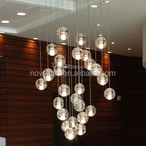 High end Crystal Ball chandelier high Ceiling interior lighting