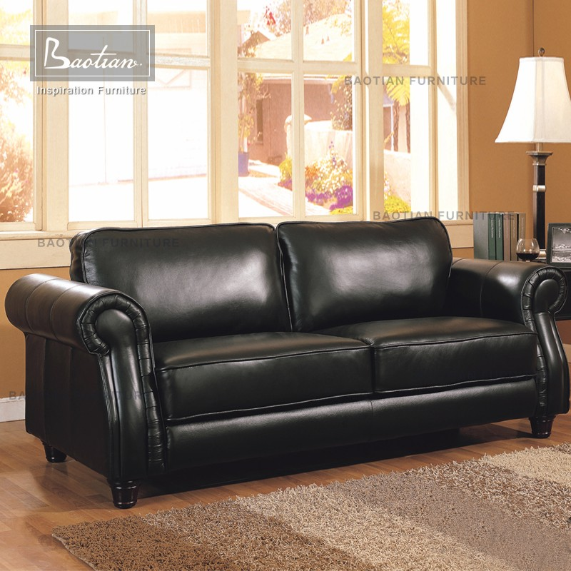 Black leather sofa set for living room furniture carved wood sofa
