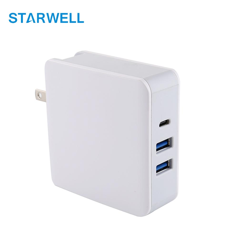 Dual 2 usb ports QC3.0 charger type c ports USB power adapter 5V 9V 12V 15V 20V smart identification