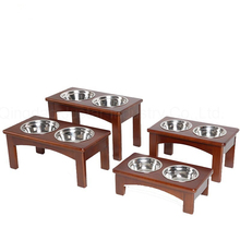Outdoor wooden dog feeder with bowls