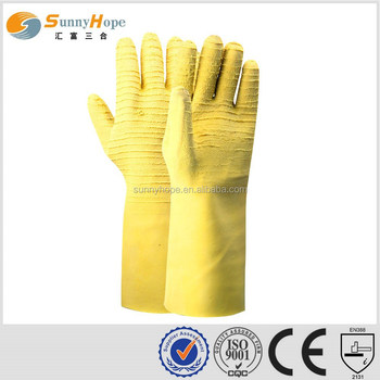 elbow yellow latex Hand Protection Gloves