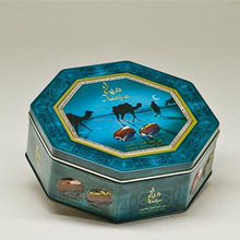new design octangle butter biscuits tin can package with print