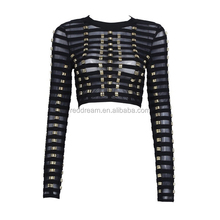 2016 New Black White Long Sleeves O Neck Studded Ladies Cute Chic Sexy Bustier Mesh Crop Tops Jacket