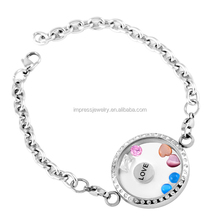 Fashion Customized Living Memory Round Glass Floating Charms Lockets Bracelet