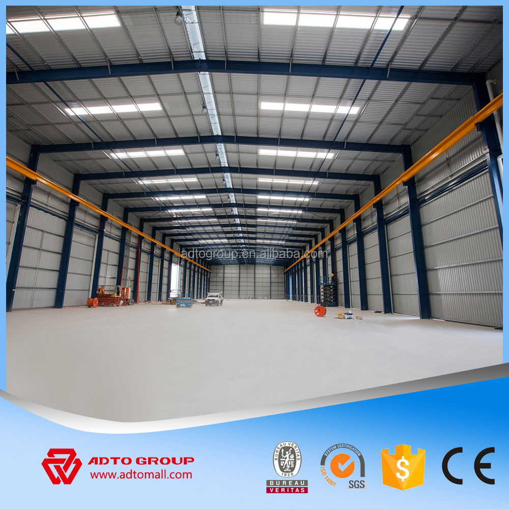 Large Steel Structure shed for industry plant and warehouse with galvanized column and beam frame