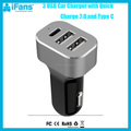 2016 fast speed 3 port usb 5.4A aluminum housing QC 2.0 car charger,type c car charger for tablet and samsung