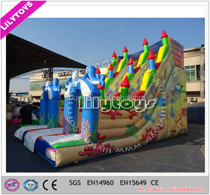 0.55mm PVC customized christmas inflatable slide, inflatable toboggan slide