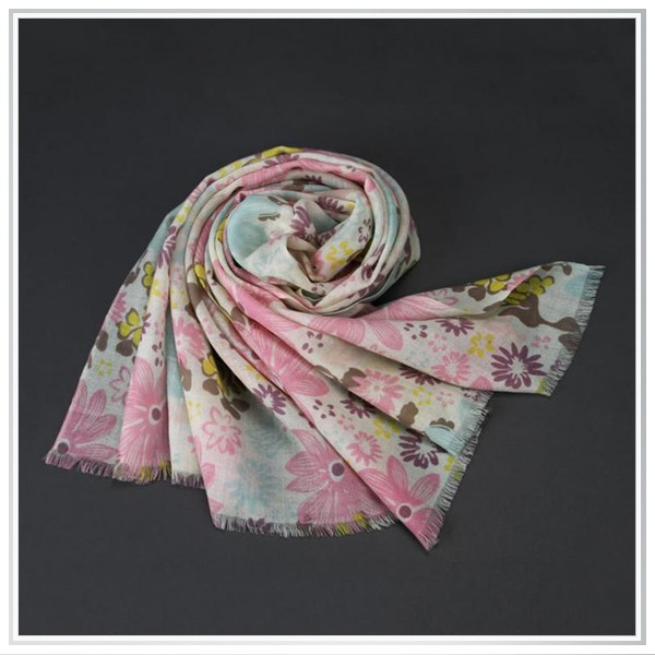 2015 individual pink flowers design ,customized highed 100% modal scarves quality digital print