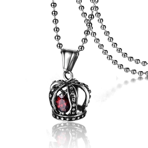 Europe America Popular Stainless Steel Casting Ruby Hollow Out Crown Pendant Necklace Wholesale