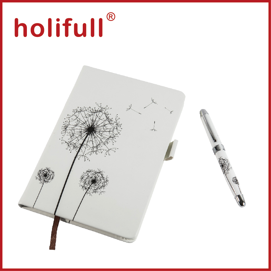2015 high-end custom logo pen and diary gift set for women