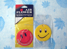Promotional smiley face car hanging air freshener designer fragrance car air freshener