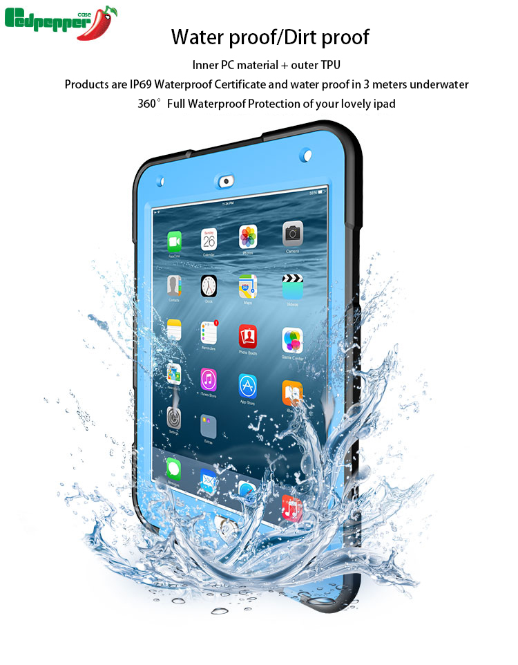 For iPad Mini4 Waterproof Case, High Quality Hard Plastic Waterprof Case for Mini4