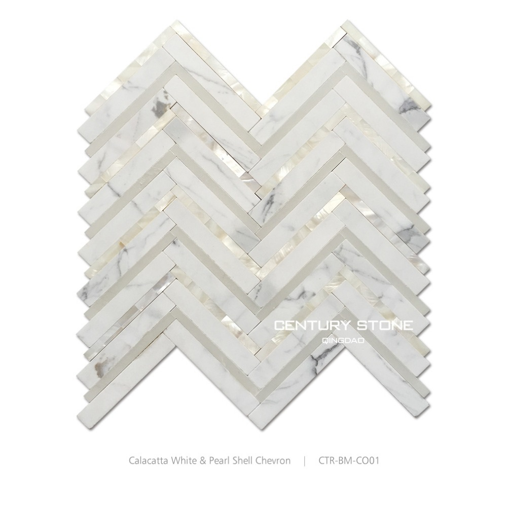 Century Mosaic White Marble And Mother Of pearl Shell Stunning Chevron