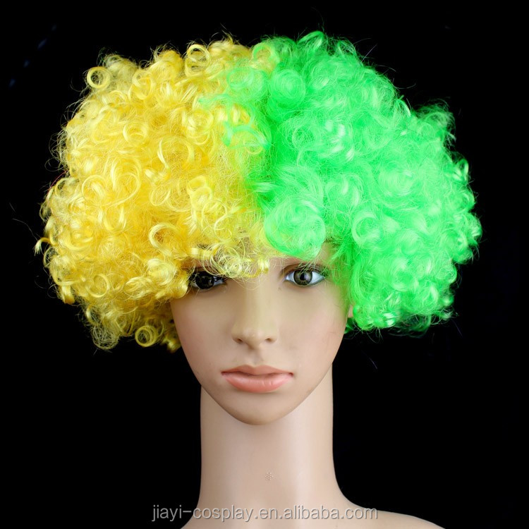Multi color Top Sale High Quality Synthetic Fashion Football Fan Cosplay Wig