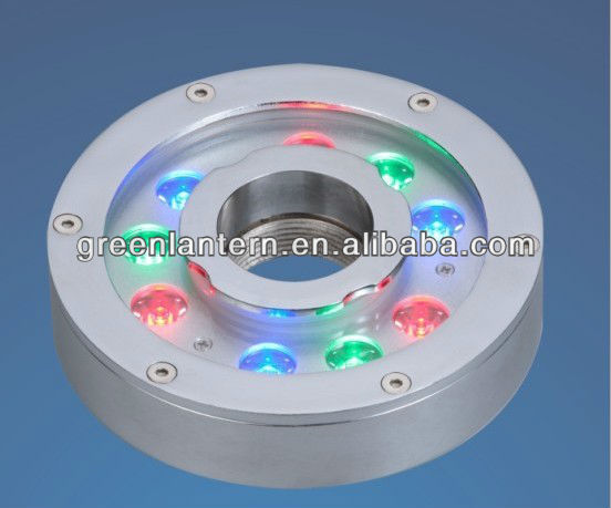 IP68 waterproof 27W DC24V round RGB led underwater fountain light