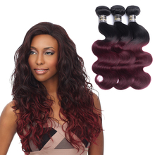 Sew In Human Hair Weave 1b 99J Ombre Hair 99J Fusion Peruvian body wave Hair Extensions