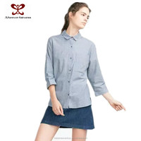 Cotton Blue Stripes Laides Blouse,2015 Office Uniform Designs For Women Blouse