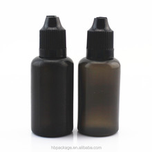 Empty 30 ML Black LDPE vape juice drip bottle with CRC dropper cap