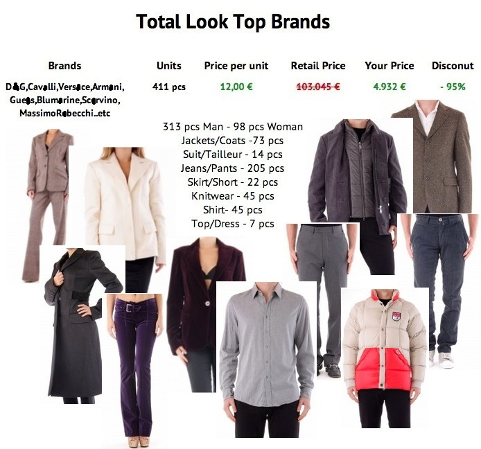 Italian top brands, 'Total look' mixed clothing, Man and Woman, fall/winter.