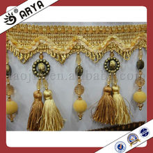 curtain double tassels fringe with beads wholesale decoration