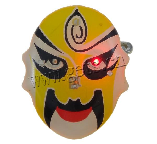 Resin Beijing Opera Mask Yellow Stone Brooch 792661