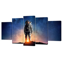 5 Piece Astronaut In Outer Space Canvas Wall Art Prints Starlight Pictures Home Decoration Canvas Prints For Kids Room
