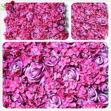 2018 hot fushcia wedding rose hydrangea artificial flower wall for party stage backdrop decorative flore factory wholesale