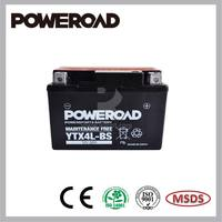 Poweroad MF Maintenance Free AGM Motorcycle Battery acid pack YTX4L-BS