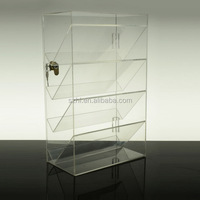 4 tiers acrylic jewelry display case with lock and key