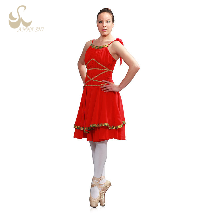 Anna Shi Wholesale all size red mid length dance dress Performance Wear costume