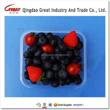 High quality food grade clear blister plastic food fruit packaging tray virgin PET