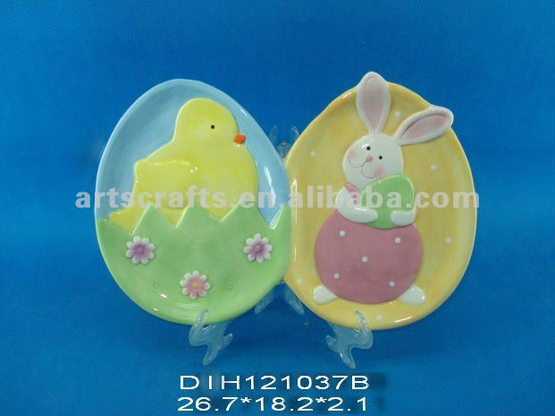 Easter double bunny plate