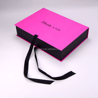 USA and UK produce custom flat shipping paper gift collapsible box with ribbon