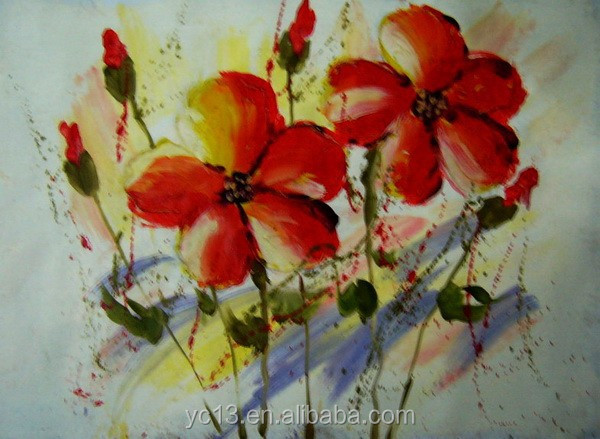 100%Handmade canvas flower oil painting On Canvas