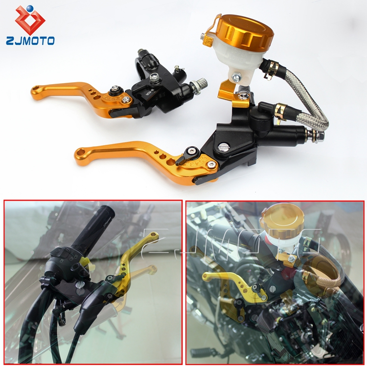 "ZJMOTO CNC Aluminum 7/8"" Motorcycle Brake Clutch Fluid Reservoir Lever For Dirt Bike Street Bike"