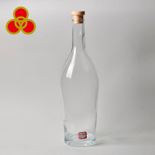 Empty clear Rum Round glass bottle wine/spirit for whiskey